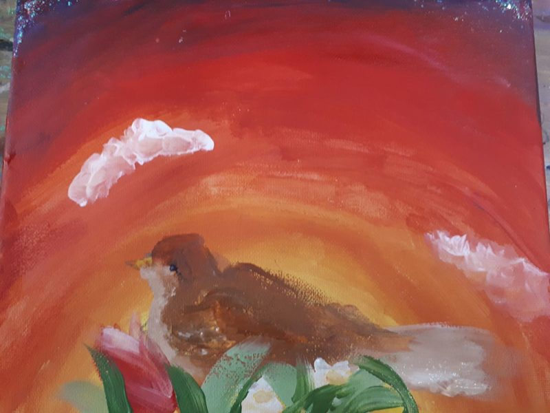 Red painting of a bird