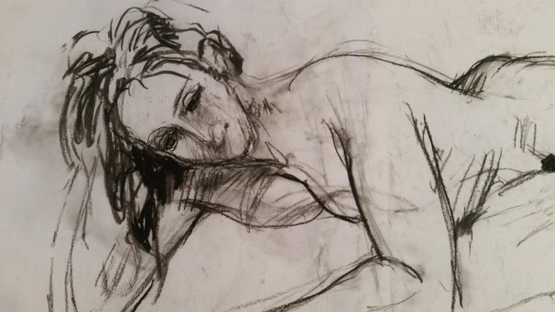 Drawing of naked woman laying down