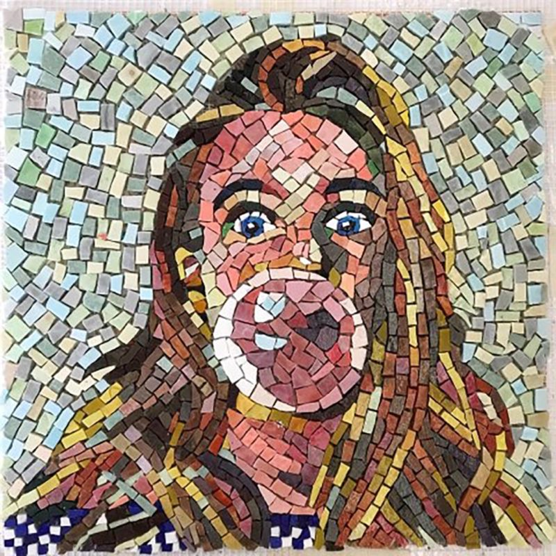 Mosaic of a woman blowing bubblegum