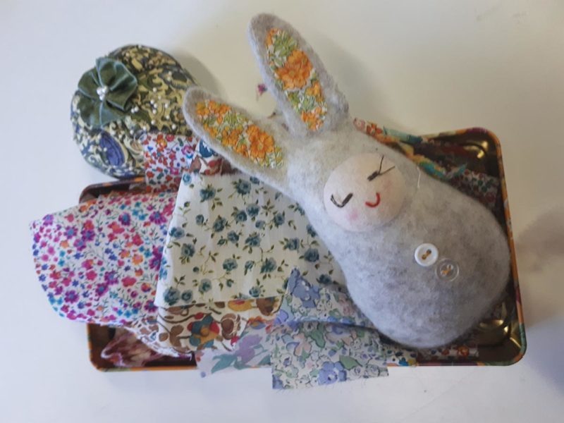 Textile artwork and felted rabbit